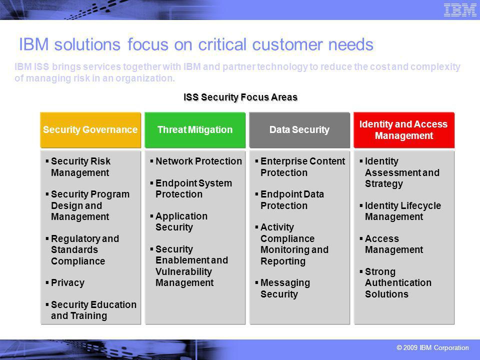 © 2009 IBM Corporation IBM solutions focus on critical customer needs IBM ISS brings services together with IBM and partner technology to reduce the cost and complexity of managing risk in an organization.