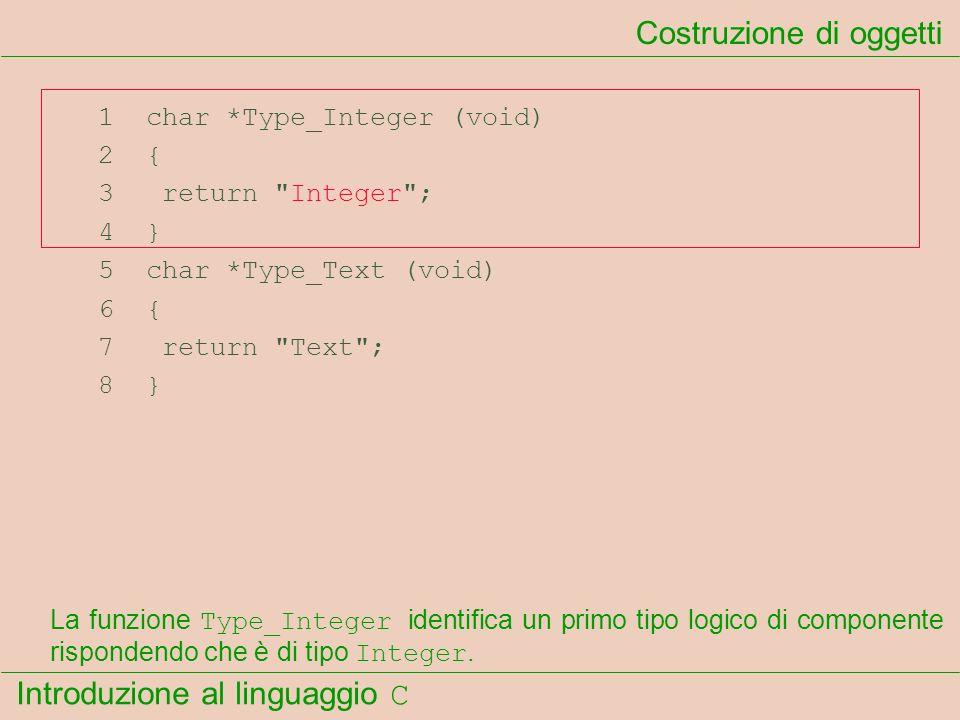 Introduzione al linguaggio C 1 char *Type_Integer (void) 2 { 3 return