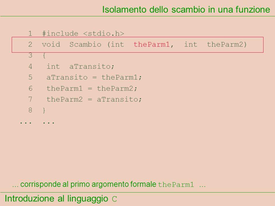 Introduzione al linguaggio C 1 #include 2 void Scambio (int theParm1, int theParm2) 3 { 4 int aTransito; 5 aTransito = theParm1; 6 theParm1 = theParm2