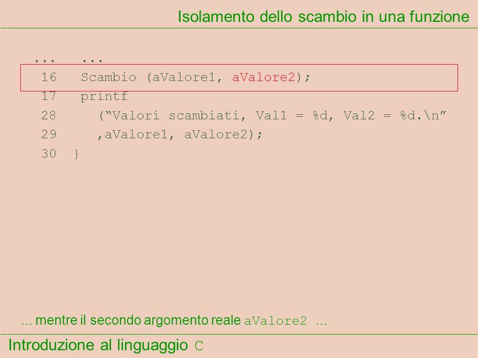 Introduzione al linguaggio C...... 16 Scambio (aValore1, aValore2); 17 printf 28 (Valori scambiati, Val1 = %d, Val2 = %d.\n 29,aValore1, aValore2); 30