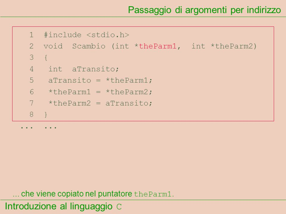 Introduzione al linguaggio C 1 #include 2 void Scambio (int *theParm1, int *theParm2) 3 { 4 int aTransito; 5 aTransito = *theParm1; 6 *theParm1 = *the