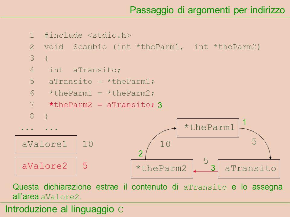 Introduzione al linguaggio C 1 #include 2 void Scambio (int *theParm1, int *theParm2) 3 { 4 int aTransito; 5 aTransito = *theParm1; 6 *theParm1 = *the