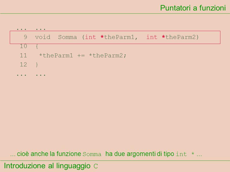 Introduzione al linguaggio C...... 9 void Somma (int *theParm1, int *theParm2) 10 { 11 *theParm1 += *theParm2; 12 }...... Puntatori a funzioni... cioè