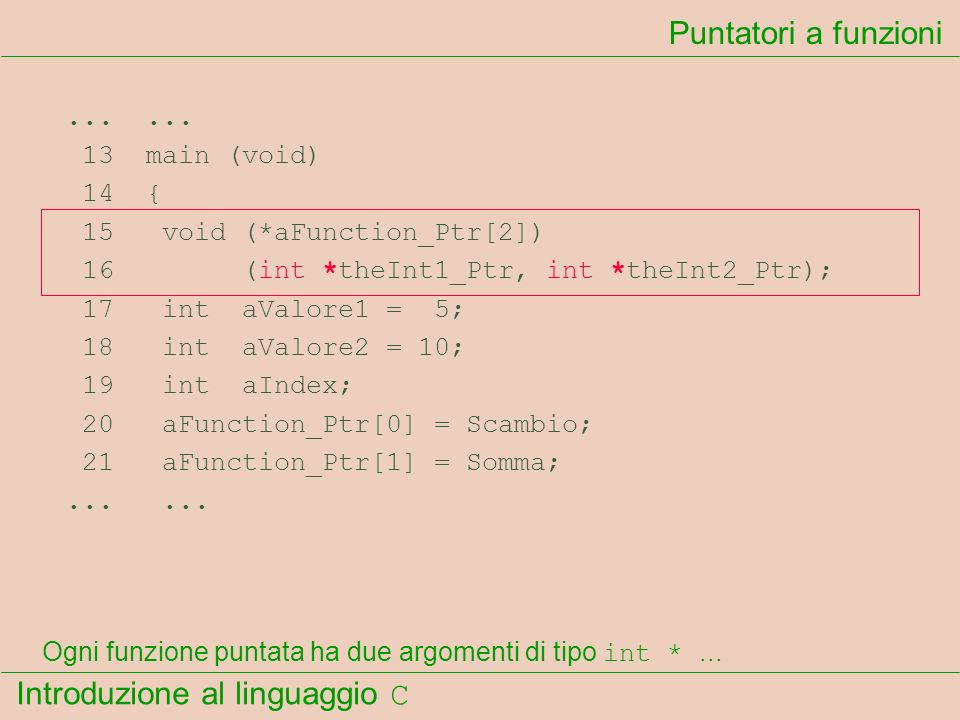 Introduzione al linguaggio C...... 13 main (void) 14 { 15 void (*aFunction_Ptr[2]) 16 (int *theInt1_Ptr, int *theInt2_Ptr); 17 int aValore1 = 5; 18 in