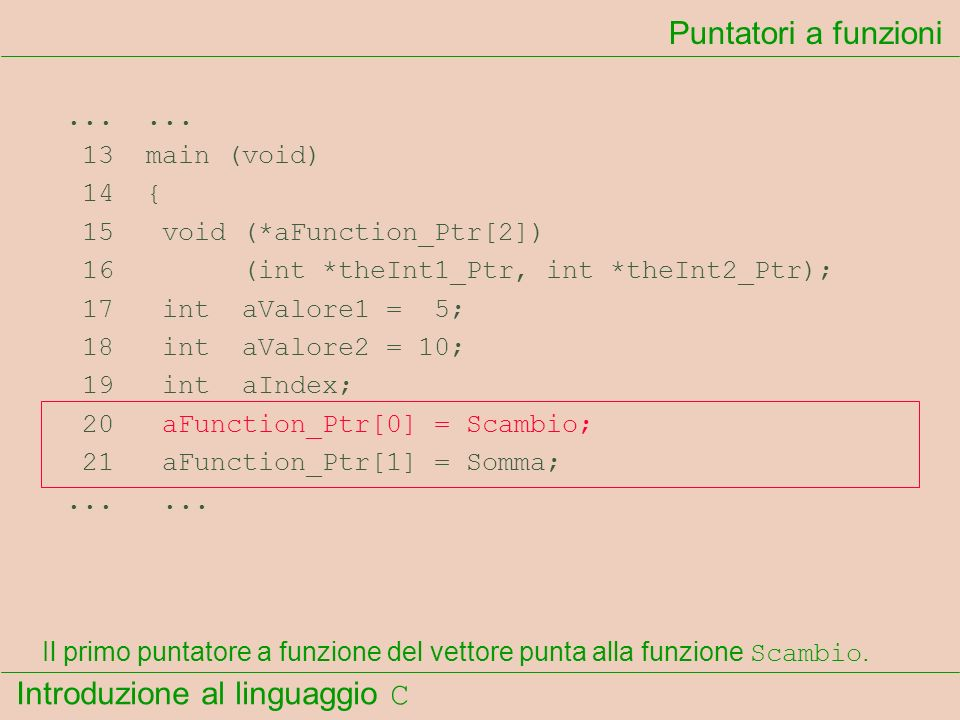 Introduzione al linguaggio C...... 13 main (void) 14 { 15 void (*aFunction_Ptr[2]) 16 (int *theInt1_Ptr, int *theInt2_Ptr); 17 int aValore1 = 5; 18 in