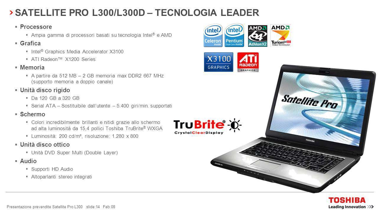 Presentazione prevendite Satellite Pro L300 slide:13 Feb.08 SATELLITE PRO L300/L300D – LEADER DELLINNOVAZIONE TOSHIBA EASYGUARD TECNOLOGIA LEADERIL MIGLIOR DESIGN