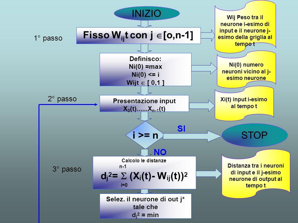 INIZIO Fisso W ij t con j [o,n-1] Definisco: Ni(0) =max Ni(0) <= i Wijt [ 0,1 ] Presentazione input X 0 (t)......X n-1 (t) i >= n STOP Wij Peso tra il