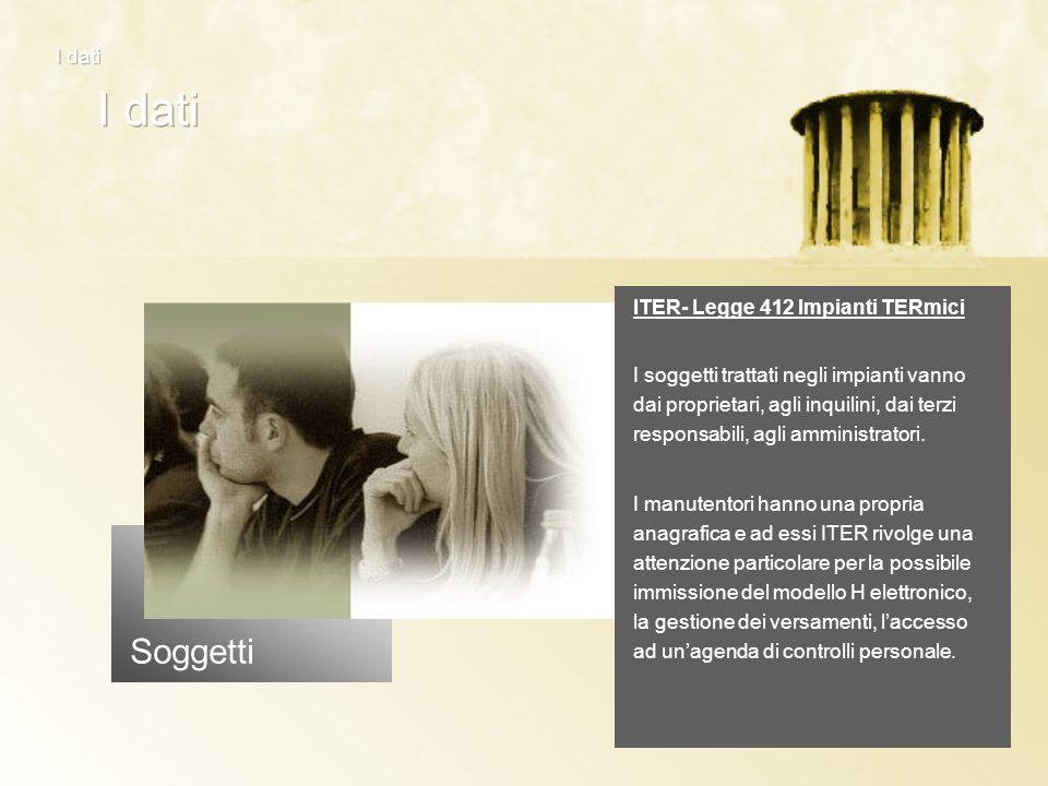Soggetti ITER- Legge 412 Impianti TERmici I soggetti trattati negli impianti vanno dai proprietari, agli inquilini, dai terzi responsabili, agli ammin