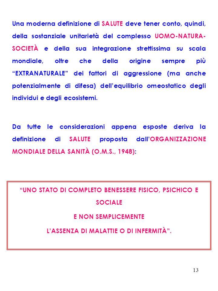 13 Una moderna definizione di SALUTE deve tener conto, quindi, della sostanziale unitarietà del complesso UOMO-NATURA- SOCIETÀ e della sua integrazion