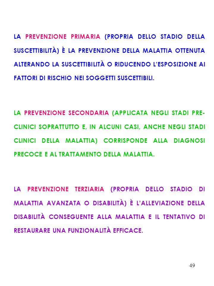 49 LA PREVENZIONE PRIMARIA (PROPRIA DELLO STADIO DELLA SUSCETTIBILITÀ) È LA PREVENZIONE DELLA MALATTIA OTTENUTA ALTERANDO LA SUSCETTIBILITÀ O RIDUCEND