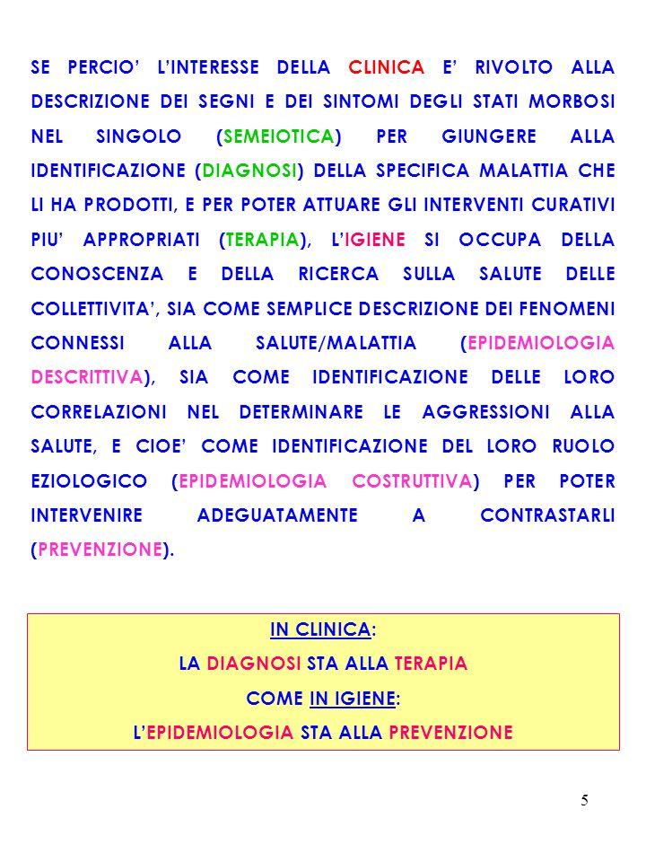 6 INTERESSE DELLA CLINICA: 1) SEMEIOTICA = DESCRIZIONE DEI SEGNI E DEI SINTOMI DEGLI STATI MORBOSI NEL SINGOLO 2) DIAGNOSI = IDENTIFICAZIONE DELLA SPECIFICA MALATTIA 3) TERAPIA = ATTUAZIONE DEGLI INTERVENTI CURATIVI PIU APPROPRIATI INTERESSE DELLIGIENE: CONOSCENZA E RICERCA SULLA SALUTE DELLE COLLETTIVITA MEDIANTE 1) EPIDEMIOLOGIA DESCRITTIVA = DESCRIZIONE DEI FENOMENI CONNESSI ALLA SALUTE/MALATTIA 2) EPIDEMIOLOGIA COSTRUTTIVA = IDENTIFICAZIONE DELLE CORRELAZIONI DI TALI FENOMENI NEL DETERMINARE LE AGGRESSIONI ALLA SALUTE CIOÈ IDENTIFICAZIONE DEL LORO RUOLO EZIOLOGICO 3) PREVENZIONE = INTERVENTI ADEGUATI A CONTRASTARE TALI FENOMENI