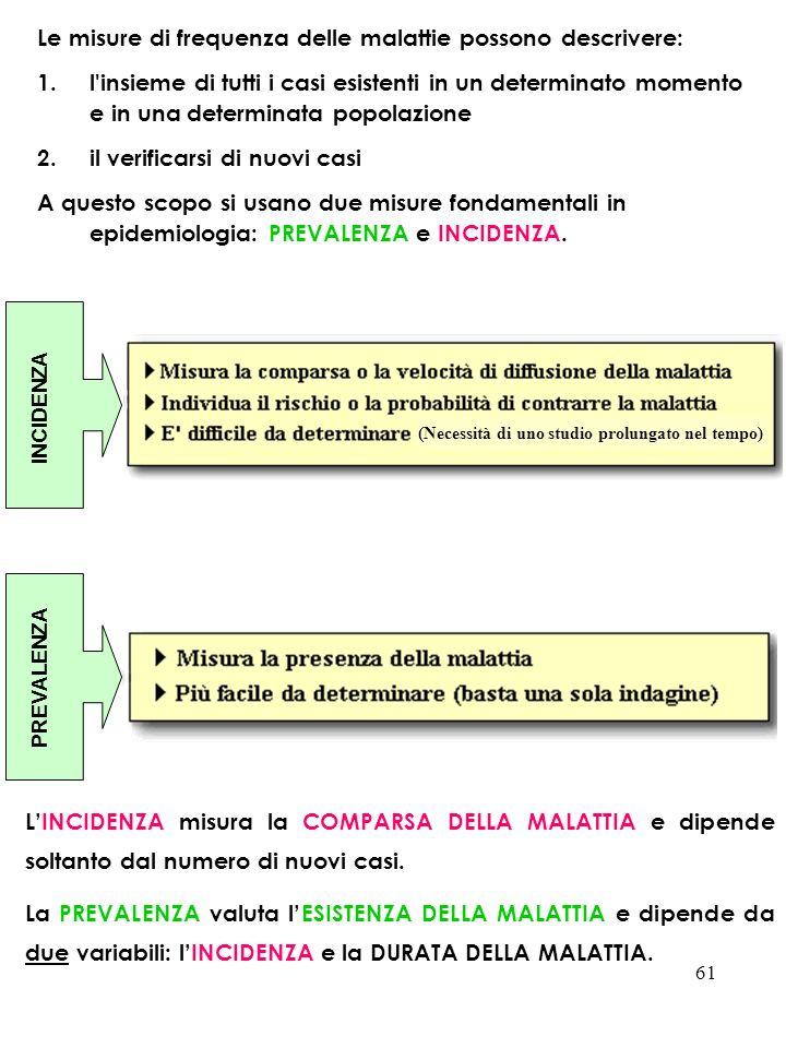 61 Le misure di frequenza delle malattie possono descrivere: 1.l'insieme di tutti i casi esistenti in un determinato momento e in una determinata popo
