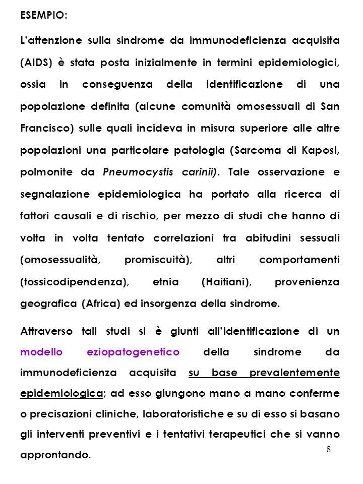 9 LEPIDEMIOLOGIA COSTITUISCE DUNQUE LA METODOLOGIA FONDAMENTALE DELLA FILOSOFIA E DELLA DISCIPLINA IGIENISTICA: LEPIDEMIOLOGIA COME STUDIO DELLE AGGREGAZIONI UMANE, IN TEMA DI SALUTE/MALATTIA, CONDOTTO SECONDO I PRINCIPI, I CRITERI E GLI STRUMENTI PROPRI DELLA STATISTICA.