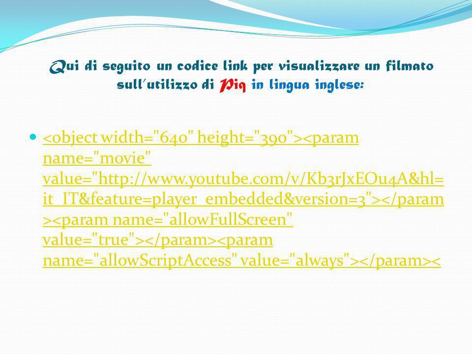 Qui di seguito un codice link per visualizzare un filmato sullutilizzo di Piq in lingua inglese: < <param name= movie value= http://www.youtube.com/v/Kb3rJxEOu4A&hl= it_IT&feature=player_embedded&version=3 ></param ><param name= allowFullScreen value= true > <param name= allowScriptAccess value= always > <