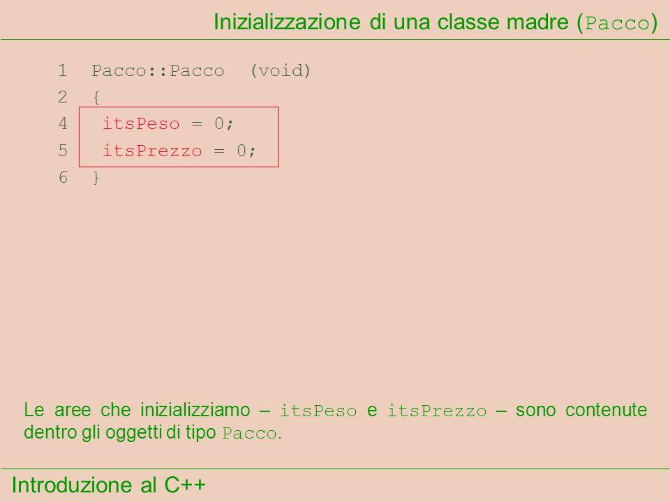 Introduzione al C++ Inizializzazione di una classe madre ( Pacco ) 1 Pacco::Pacco (void) 2 { 4 itsPeso = 0; 5 itsPrezzo = 0; 6 } Le aree che inizializziamo – itsPeso e itsPrezzo – sono contenute dentro gli oggetti di tipo Pacco.
