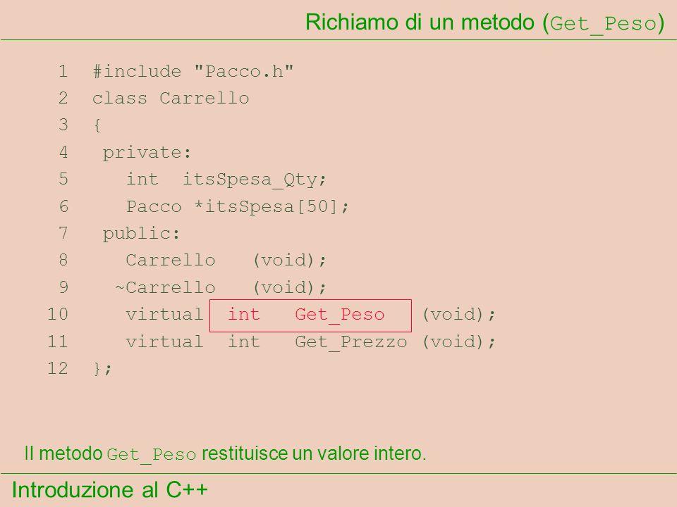 Introduzione al C++ Richiamo di un metodo ( Get_Peso ) 1 #include Pacco.h 2 class Carrello 3 { 4 private: 5 int itsSpesa_Qty; 6 Pacco *itsSpesa[50]; 7 public: 8 Carrello (void); 9 ~Carrello (void); 10 virtual int Get_Peso (void); 11 virtual int Get_Prezzo (void); 12 }; Il metodo Get_Peso restituisce un valore intero.