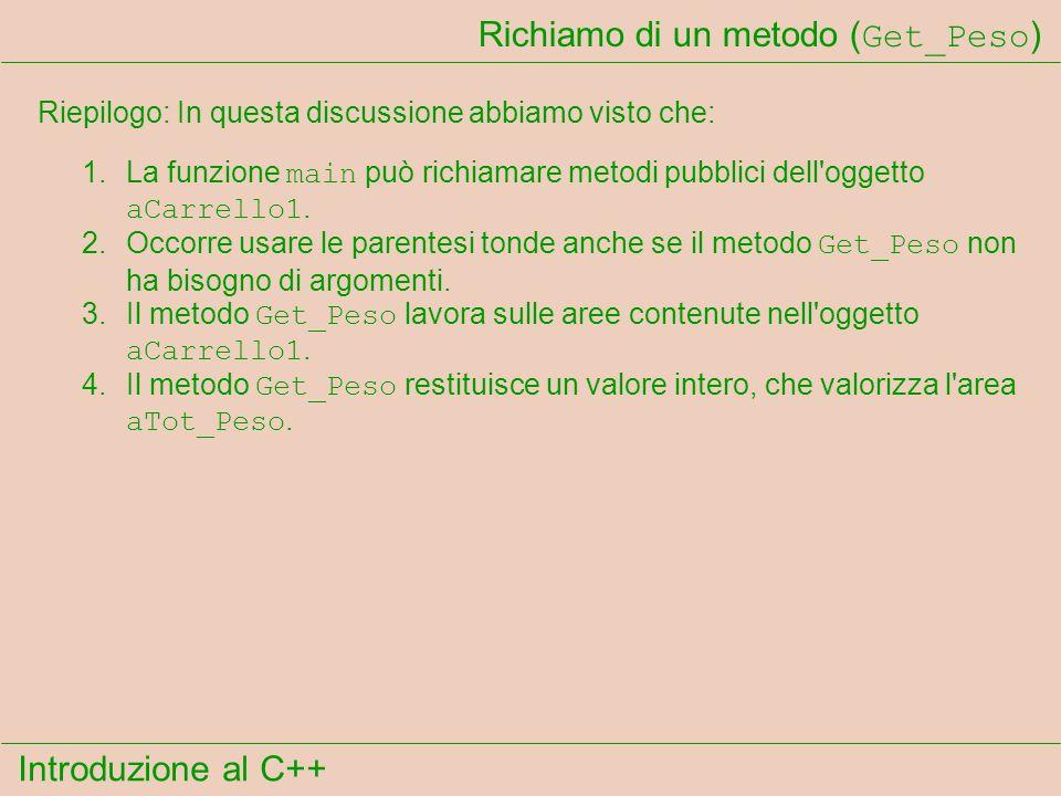 Introduzione al C++ Richiamo di un metodo ( Get_Peso ) Riepilogo: In questa discussione abbiamo visto che: 1.La funzione main può richiamare metodi pubblici dell oggetto aCarrello1.