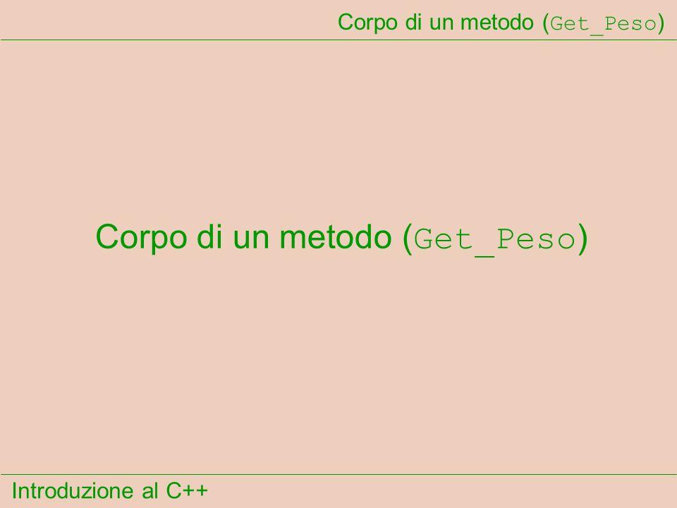Introduzione al C++ Corpo di un metodo ( Get_Peso )