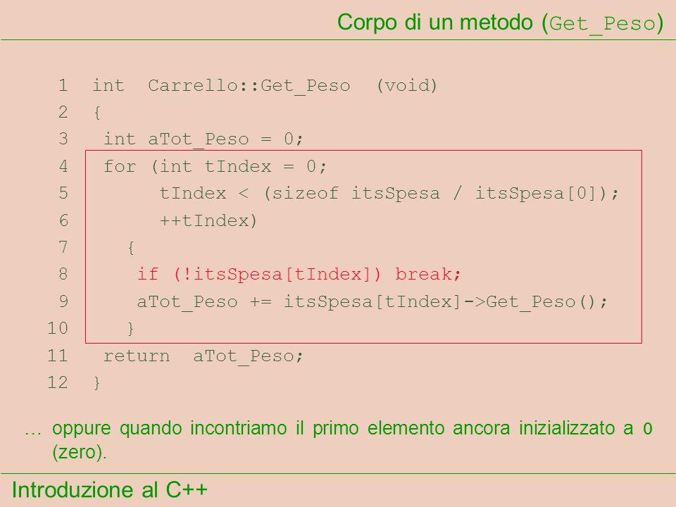 Introduzione al C++ Corpo di un metodo ( Get_Peso ) 1 int Carrello::Get_Peso (void) 2 { 3 int aTot_Peso = 0; 4 for (int tIndex = 0; 5 tIndex < (sizeof itsSpesa / itsSpesa[0]); 6 ++tIndex) 7 { 8 if (!itsSpesa[tIndex]) break; 9 aTot_Peso += itsSpesa[tIndex]->Get_Peso(); 10 } 11 return aTot_Peso; 12 } …oppure quando incontriamo il primo elemento ancora inizializzato a 0 (zero).