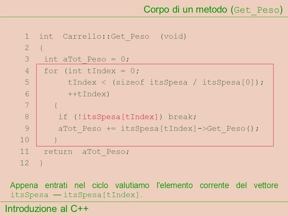 Introduzione al C++ Corpo di un metodo ( Get_Peso ) 1 int Carrello::Get_Peso (void) 2 { 3 int aTot_Peso = 0; 4 for (int tIndex = 0; 5 tIndex < (sizeof itsSpesa / itsSpesa[0]); 6 ++tIndex) 7 { 8 if (!itsSpesa[tIndex]) break; 9 aTot_Peso += itsSpesa[tIndex]->Get_Peso(); 10 } 11 return aTot_Peso; 12 } Appena entrati nel ciclo valutiamo l elemento corrente del vettore itsSpesa itsSpesa[tIndex].