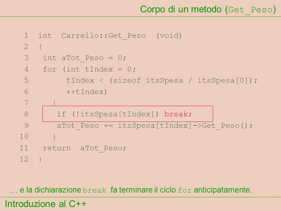 Introduzione al C++ Corpo di un metodo ( Get_Peso ) 1 int Carrello::Get_Peso (void) 2 { 3 int aTot_Peso = 0; 4 for (int tIndex = 0; 5 tIndex < (sizeof itsSpesa / itsSpesa[0]); 6 ++tIndex) 7 { 8 if (!itsSpesa[tIndex]) break; 9 aTot_Peso += itsSpesa[tIndex]->Get_Peso(); 10 } 11 return aTot_Peso; 12 } … e la dichiarazione break fa terminare il ciclo for anticipatamente.