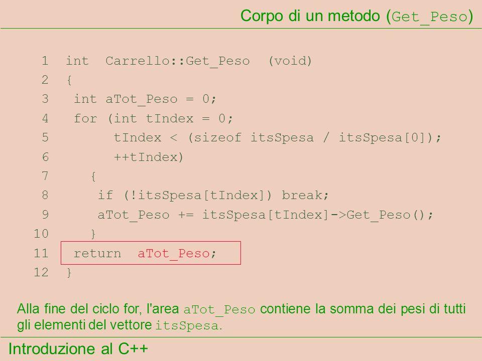 Introduzione al C++ Corpo di un metodo ( Get_Peso ) 1 int Carrello::Get_Peso (void) 2 { 3 int aTot_Peso = 0; 4 for (int tIndex = 0; 5 tIndex < (sizeof itsSpesa / itsSpesa[0]); 6 ++tIndex) 7 { 8 if (!itsSpesa[tIndex]) break; 9 aTot_Peso += itsSpesa[tIndex]->Get_Peso(); 10 } 11 return aTot_Peso; 12 } Alla fine del ciclo for, l area aTot_Peso contiene la somma dei pesi di tutti gli elementi del vettore itsSpesa.