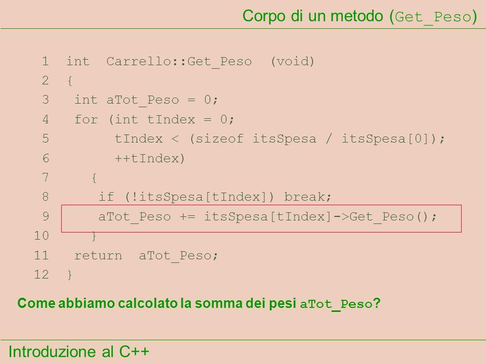 Introduzione al C++ Corpo di un metodo ( Get_Peso ) 1 int Carrello::Get_Peso (void) 2 { 3 int aTot_Peso = 0; 4 for (int tIndex = 0; 5 tIndex < (sizeof itsSpesa / itsSpesa[0]); 6 ++tIndex) 7 { 8 if (!itsSpesa[tIndex]) break; 9 aTot_Peso += itsSpesa[tIndex]->Get_Peso(); 10 } 11 return aTot_Peso; 12 } Come abbiamo calcolato la somma dei pesi aTot_Peso