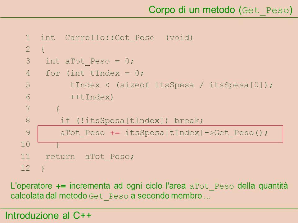 Introduzione al C++ Corpo di un metodo ( Get_Peso ) 1 int Carrello::Get_Peso (void) 2 { 3 int aTot_Peso = 0; 4 for (int tIndex = 0; 5 tIndex < (sizeof itsSpesa / itsSpesa[0]); 6 ++tIndex) 7 { 8 if (!itsSpesa[tIndex]) break; 9 aTot_Peso += itsSpesa[tIndex]->Get_Peso(); 10 } 11 return aTot_Peso; 12 } L operatore += incrementa ad ogni ciclo l area aTot_Peso della quantità calcolata dal metodo Get_Peso a secondo membro...