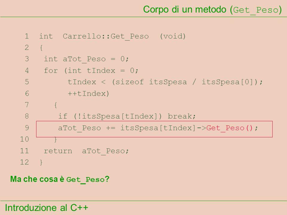 Introduzione al C++ Corpo di un metodo ( Get_Peso ) 1 int Carrello::Get_Peso (void) 2 { 3 int aTot_Peso = 0; 4 for (int tIndex = 0; 5 tIndex < (sizeof itsSpesa / itsSpesa[0]); 6 ++tIndex) 7 { 8 if (!itsSpesa[tIndex]) break; 9 aTot_Peso += itsSpesa[tIndex]->Get_Peso(); 10 } 11 return aTot_Peso; 12 } Ma che cosa è Get_Peso