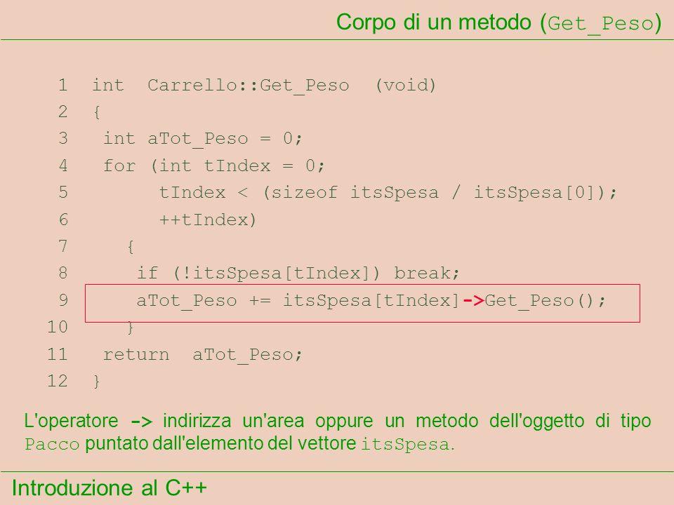 Introduzione al C++ Corpo di un metodo ( Get_Peso ) 1 int Carrello::Get_Peso (void) 2 { 3 int aTot_Peso = 0; 4 for (int tIndex = 0; 5 tIndex < (sizeof itsSpesa / itsSpesa[0]); 6 ++tIndex) 7 { 8 if (!itsSpesa[tIndex]) break; 9 aTot_Peso += itsSpesa[tIndex]->Get_Peso(); 10 } 11 return aTot_Peso; 12 } L operatore -> indirizza un area oppure un metodo dell oggetto di tipo Pacco puntato dall elemento del vettore itsSpesa.