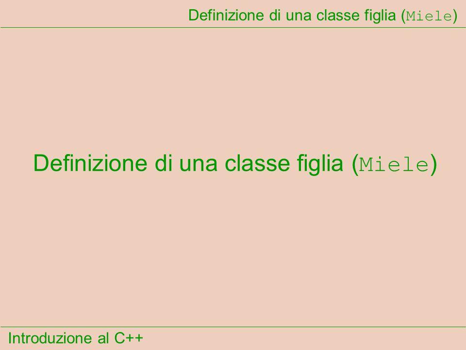 Introduzione al C++ Definizione di una classe figlia ( Miele )