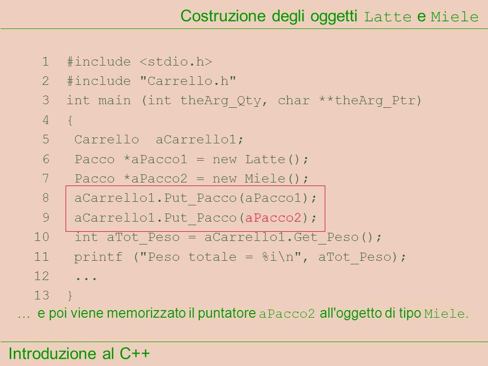 Introduzione al C++ Costruzione degli oggetti Latte e Miele 1 #include 2 #include Carrello.h 3 int main (int theArg_Qty, char **theArg_Ptr) 4 { 5 Carrello aCarrello1; 6 Pacco *aPacco1 = new Latte(); 7 Pacco *aPacco2 = new Miele(); 8 aCarrello1.Put_Pacco(aPacco1); 9 aCarrello1.Put_Pacco(aPacco2); 10 int aTot_Peso = aCarrello1.Get_Peso(); 11 printf ( Peso totale = %i\n , aTot_Peso); 12...