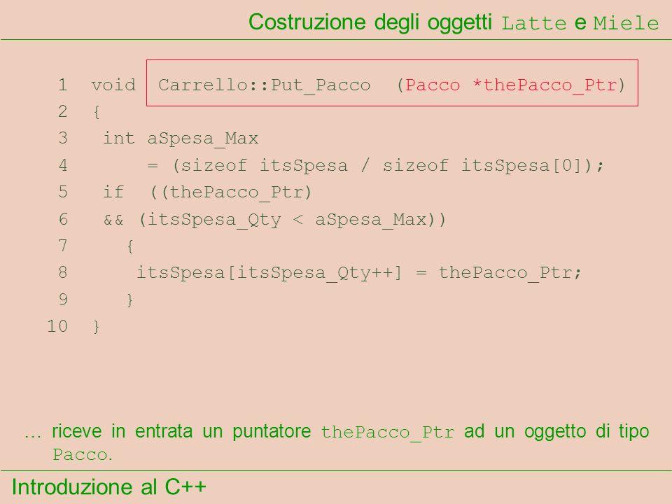 Introduzione al C++ Costruzione degli oggetti Latte e Miele 1 void Carrello::Put_Pacco (Pacco *thePacco_Ptr) 2 { 3 int aSpesa_Max 4 = (sizeof itsSpesa / sizeof itsSpesa[0]); 5 if ((thePacco_Ptr) 6 && (itsSpesa_Qty < aSpesa_Max)) 7 { 8 itsSpesa[itsSpesa_Qty++] = thePacco_Ptr; 9 } 10 } …riceve in entrata un puntatore thePacco_Ptr ad un oggetto di tipo Pacco.
