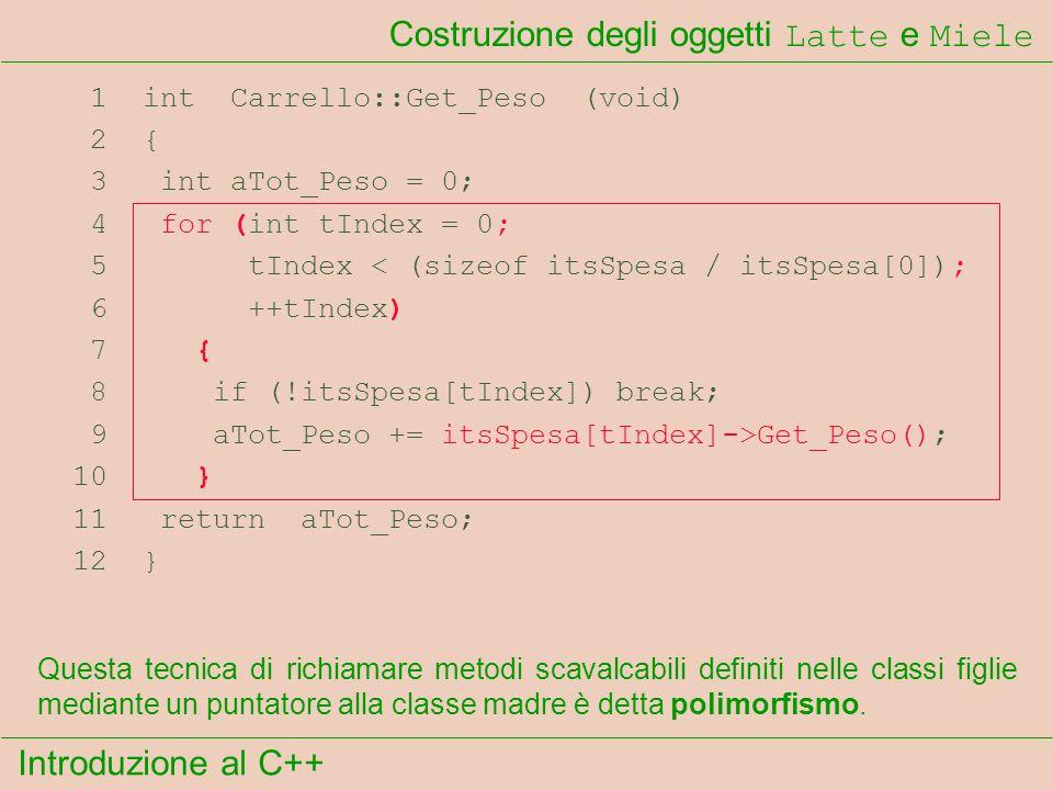 Introduzione al C++ Costruzione degli oggetti Latte e Miele 1 int Carrello::Get_Peso (void) 2 { 3 int aTot_Peso = 0; 4 for (int tIndex = 0; 5 tIndex < (sizeof itsSpesa / itsSpesa[0]); 6 ++tIndex) 7 { 8 if (!itsSpesa[tIndex]) break; 9 aTot_Peso += itsSpesa[tIndex]->Get_Peso(); 10 } 11 return aTot_Peso; 12 } Questa tecnica di richiamare metodi scavalcabili definiti nelle classi figlie mediante un puntatore alla classe madre è detta polimorfismo.