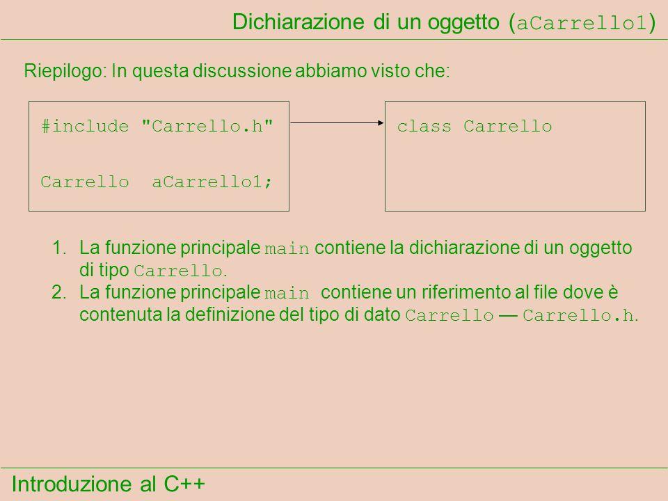 Introduzione al C++ Dichiarazione di un oggetto ( aCarrello1 ) Riepilogo: In questa discussione abbiamo visto che: Carrello aCarrello1; 1.La funzione principale main contiene la dichiarazione di un oggetto di tipo Carrello.