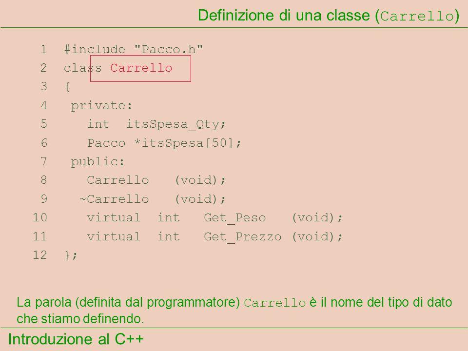 Introduzione al C++ Definizione di una classe ( Carrello ) 1 #include Pacco.h 2 class Carrello 3 { 4 private: 5 int itsSpesa_Qty; 6 Pacco *itsSpesa[50]; 7 public: 8 Carrello (void); 9 ~Carrello (void); 10 virtual int Get_Peso (void); 11 virtual int Get_Prezzo (void); 12 }; La parola (definita dal programmatore) Carrello è il nome del tipo di dato che stiamo definendo.