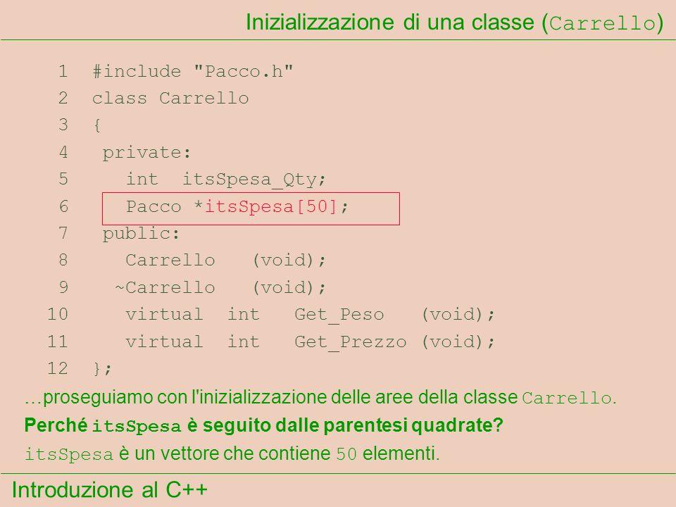 Introduzione al C++ Inizializzazione di una classe ( Carrello ) 1 #include Pacco.h 2 class Carrello 3 { 4 private: 5 int itsSpesa_Qty; 6 Pacco *itsSpesa[50]; 7 public: 8 Carrello (void); 9 ~Carrello (void); 10 virtual int Get_Peso (void); 11 virtual int Get_Prezzo (void); 12 }; Perché itsSpesa è seguito dalle parentesi quadrate.