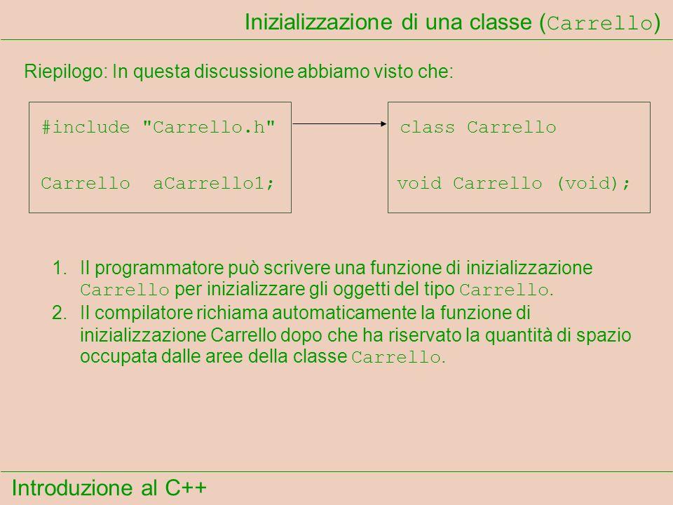 Introduzione al C++ Inizializzazione di una classe ( Carrello ) Riepilogo: In questa discussione abbiamo visto che: Carrello aCarrello1; #include Carrello.h class Carrello void Carrello (void); 1.Il programmatore può scrivere una funzione di inizializzazione Carrello per inizializzare gli oggetti del tipo Carrello.