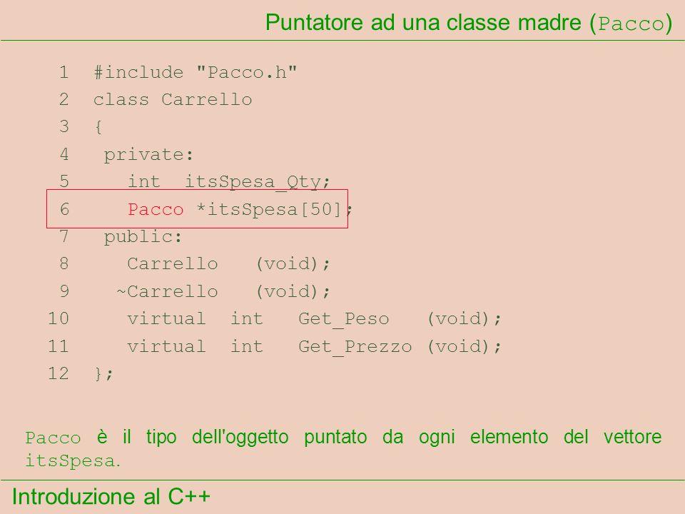 Introduzione al C++ Puntatore ad una classe madre ( Pacco ) 1 #include Pacco.h 2 class Carrello 3 { 4 private: 5 int itsSpesa_Qty; 6 Pacco *itsSpesa[50]; 7 public: 8 Carrello (void); 9 ~Carrello (void); 10 virtual int Get_Peso (void); 11 virtual int Get_Prezzo (void); 12 }; Pacco è il tipo dell oggetto puntato da ogni elemento del vettore itsSpesa.