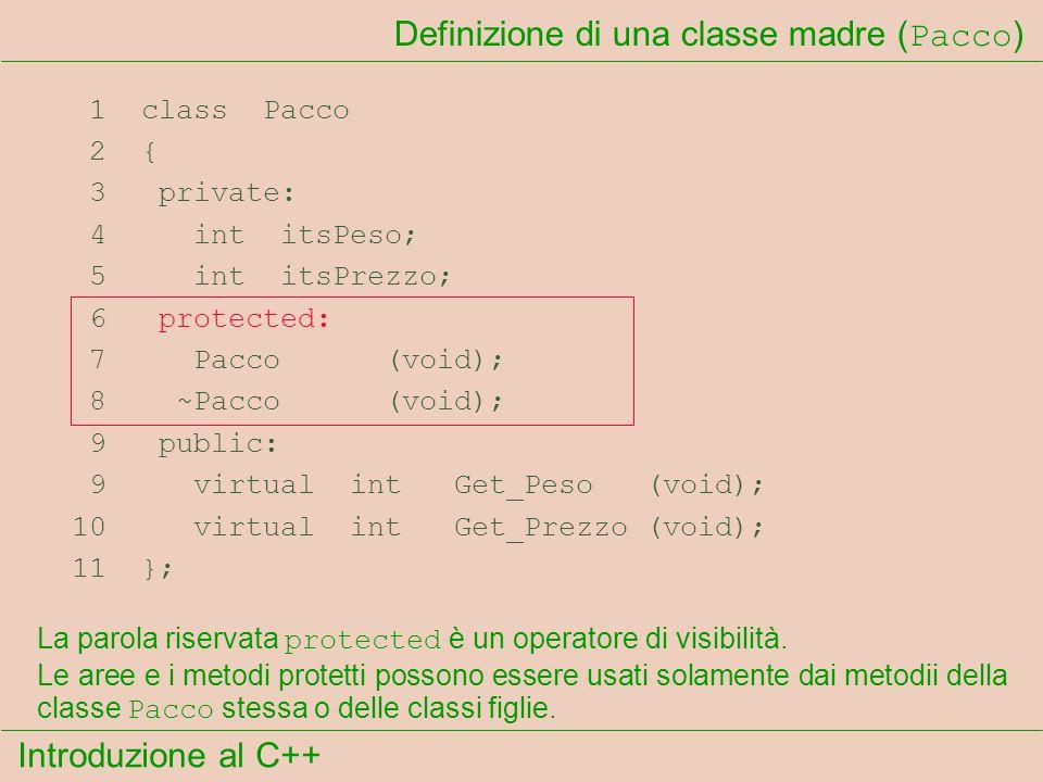 Introduzione al C++ Definizione di una classe madre ( Pacco ) 1 class Pacco 2 { 3 private: 4 int itsPeso; 5 int itsPrezzo; 6 protected: 7 Pacco (void); 8 ~Pacco (void); 9 public: 9 virtual int Get_Peso (void); 10 virtual int Get_Prezzo (void); 11 }; La parola riservata protected è un operatore di visibilità.