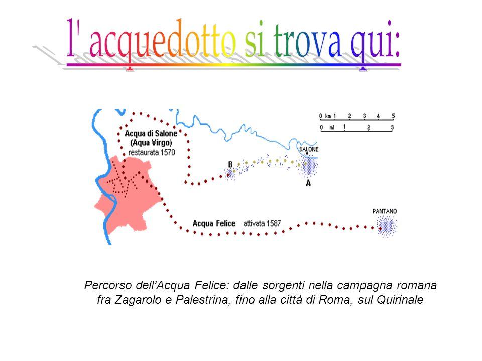 Percorso dellAcqua Felice: dalle sorgenti nella campagna romana fra Zagarolo e Palestrina, fino alla città di Roma, sul Quirinale