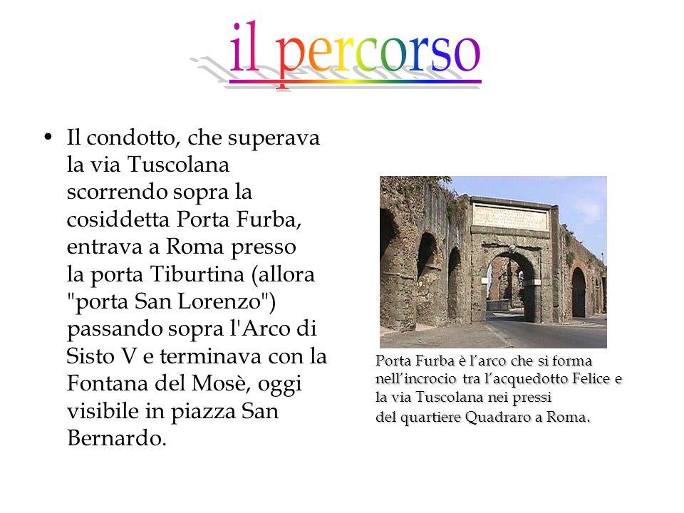 Il condotto, che superava la via Tuscolana scorrendo sopra la cosiddetta Porta Furba, entrava a Roma presso la porta Tiburtina (allora