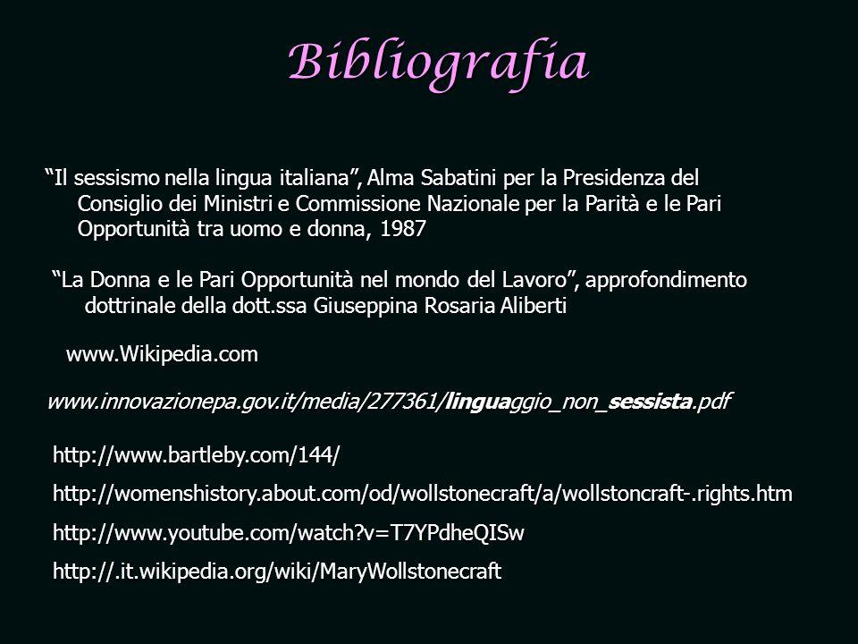 Bibliografia Il sessismo nella lingua italiana, Alma Sabatini per la Presidenza del Consiglio dei Ministri e Commissione Nazionale per la Parità e le