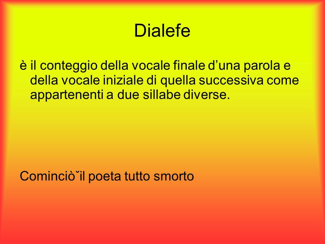 Dialefe è il conteggio della vocale finale duna parola e della vocale iniziale di quella successiva come appartenenti a due sillabe diverse. Cominciòˇ