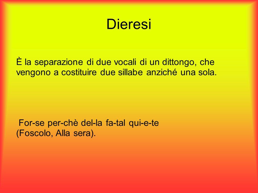 Dieresi È la separazione di due vocali di un dittongo, che vengono a costituire due sillabe anziché una sola. For-se per-chè del-la fa-tal qui-e-te (F