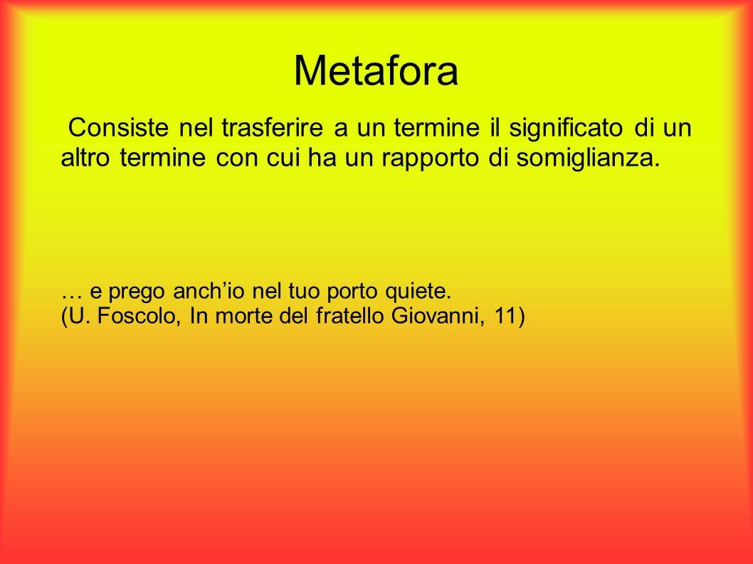 Metafora Consiste nel trasferire a un termine il significato di un altro termine con cui ha un rapporto di somiglianza. … e prego anchio nel tuo porto