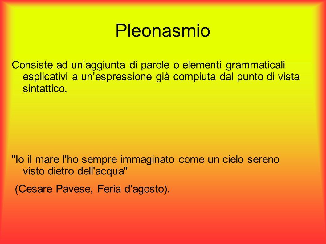 Pleonasmio Consiste ad unaggiunta di parole o elementi grammaticali esplicativi a unespressione già compiuta dal punto di vista sintattico.