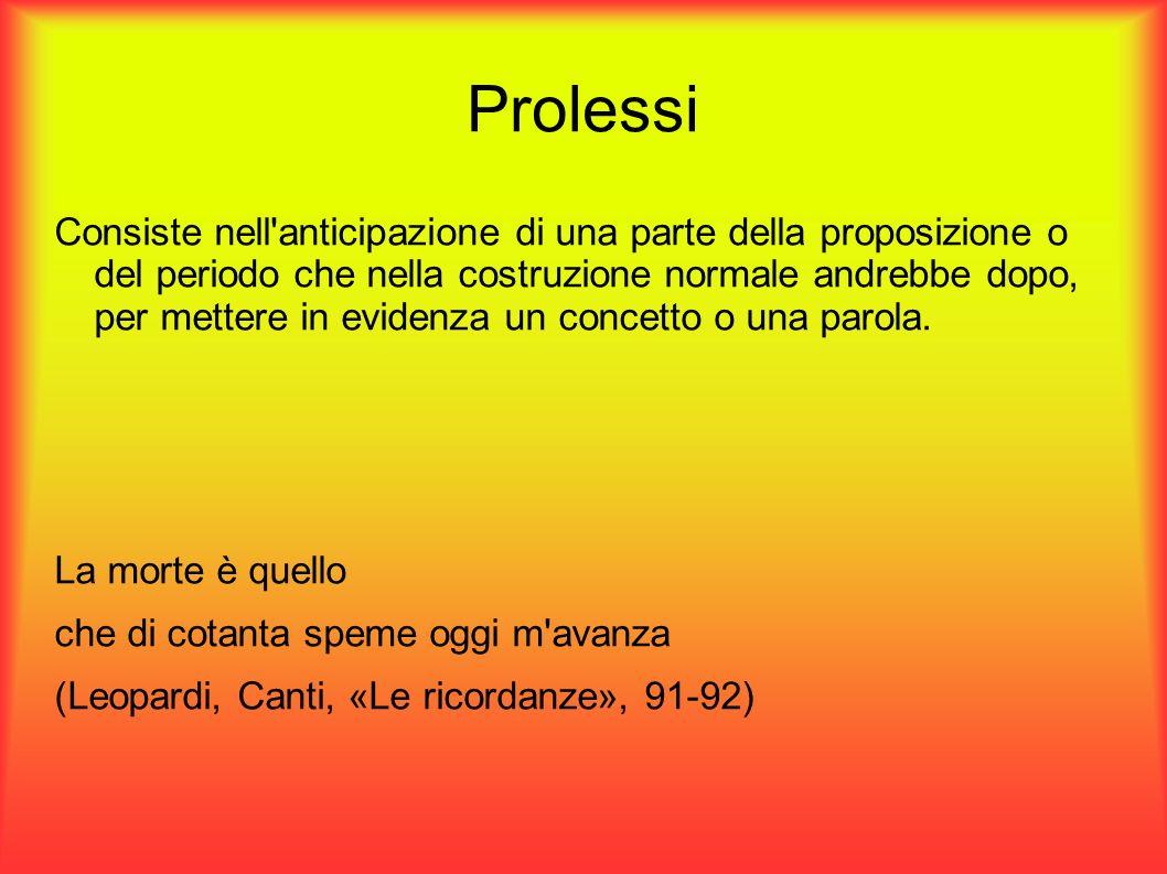Prolessi Consiste nell'anticipazione di una parte della proposizione o del periodo che nella costruzione normale andrebbe dopo, per mettere in evidenz