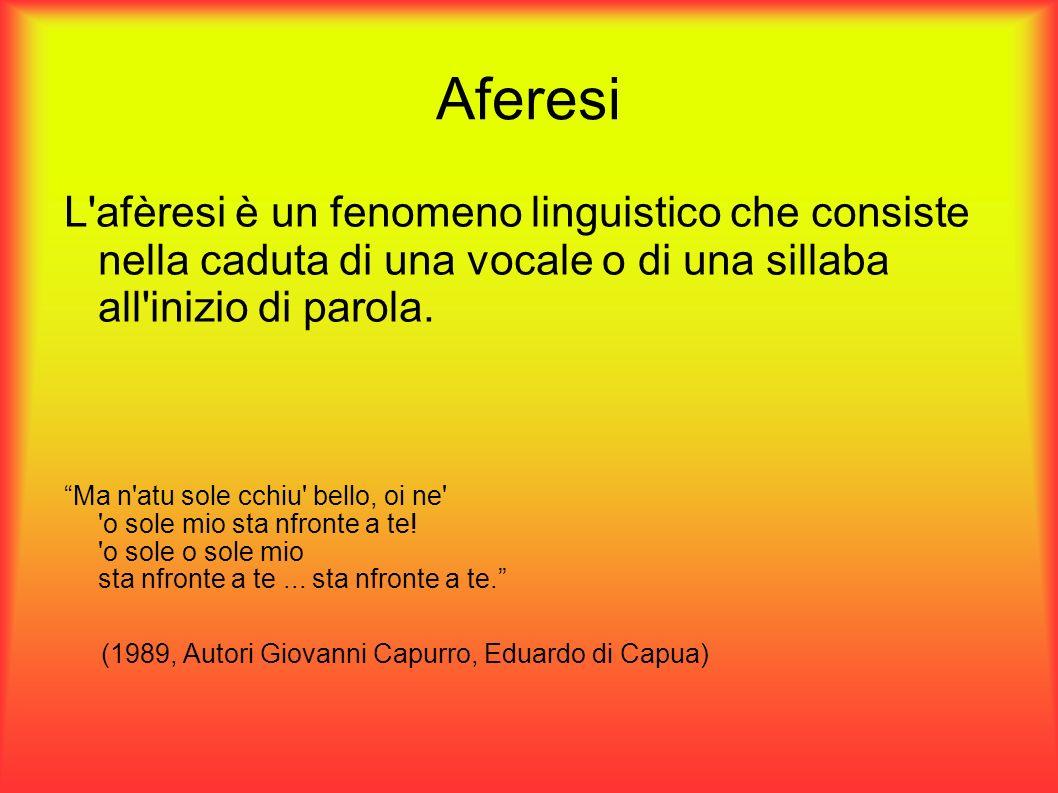 Aferesi L'afèresi è un fenomeno linguistico che consiste nella caduta di una vocale o di una sillaba all'inizio di parola. Ma n'atu sole cchiu' bello,