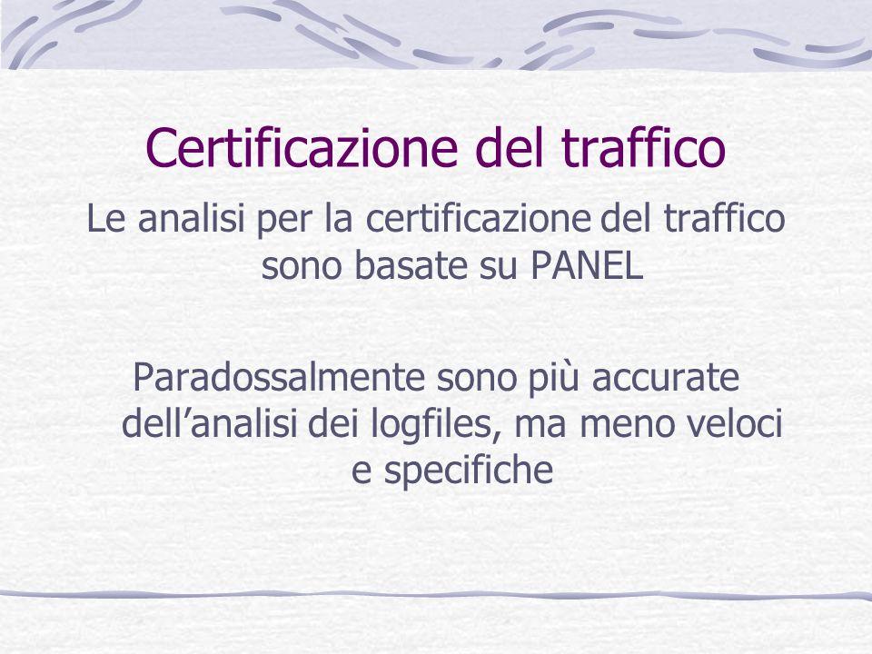 Certificazione del traffico Le analisi per la certificazione del traffico sono basate su PANEL Paradossalmente sono più accurate dellanalisi dei logfi